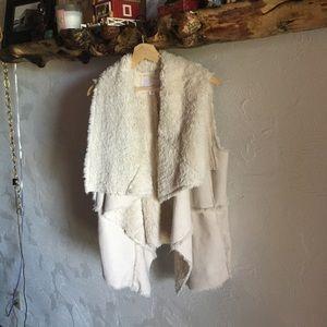 Faux suede and fur vest